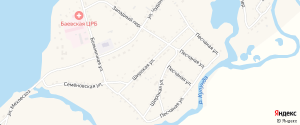 Широкая улица на карте села Баево с номерами домов