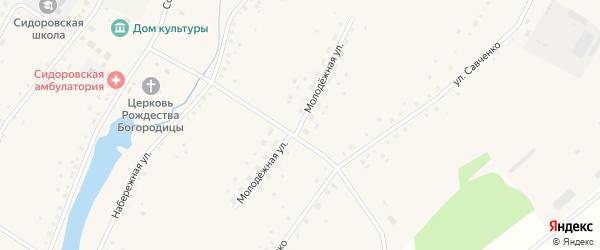 Молодежная улица на карте села Сидоровка с номерами домов