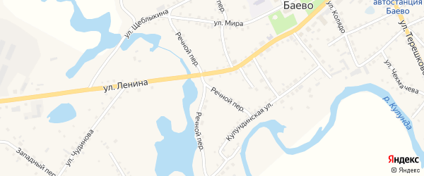 Речной переулок на карте села Баево с номерами домов