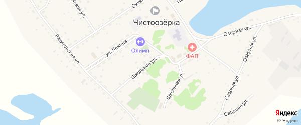 Школьная улица на карте села Чистоозерки с номерами домов