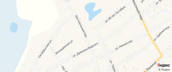 Центральный переулок на карте села Баево с номерами домов