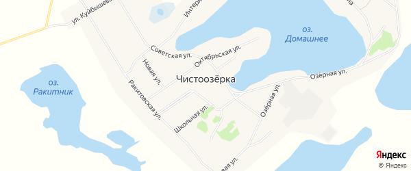 Карта села Чистоозерки в Алтайском крае с улицами и номерами домов