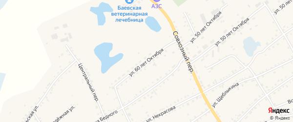 Улица 60 лет Октября на карте села Баево с номерами домов