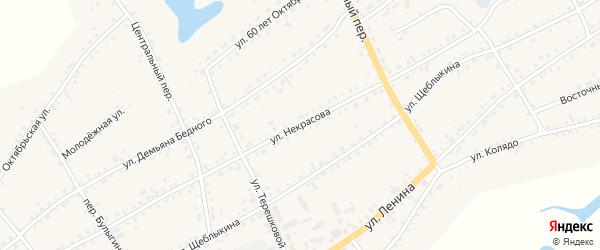 Улица Некрасова на карте села Баево с номерами домов