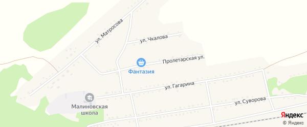 Пролетарская улица на карте Малиновского поселка с номерами домов