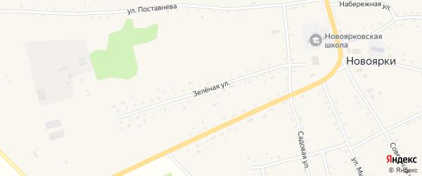 Зеленая улица на карте села Новоярки с номерами домов