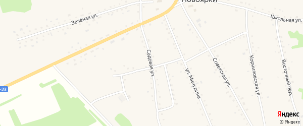 Садовая улица на карте села Новоярки с номерами домов