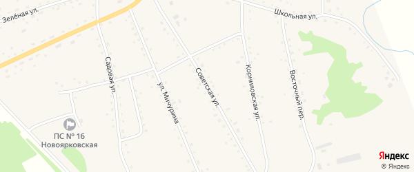 Советская улица на карте села Новоярки с номерами домов