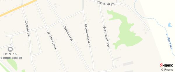 Корниловская улица на карте села Новоярки с номерами домов