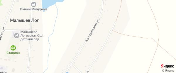 Кооперативная улица на карте села Малышева Лога с номерами домов