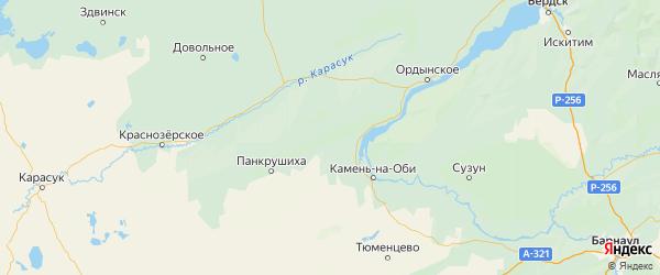 Карта Крутихинского района Алтайского края с населенными пунктами и городами