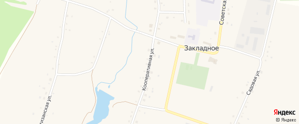 Кооперативная улица на карте Закладного села с номерами домов