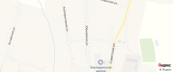 Юбилейная улица на карте Закладного села с номерами домов