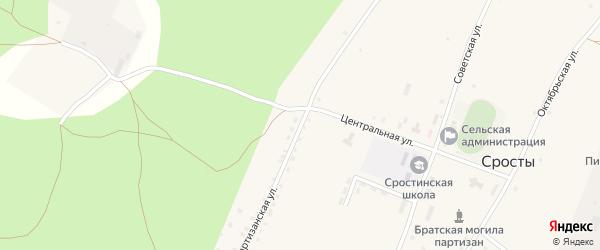 Партизанская улица на карте села Сросты с номерами домов