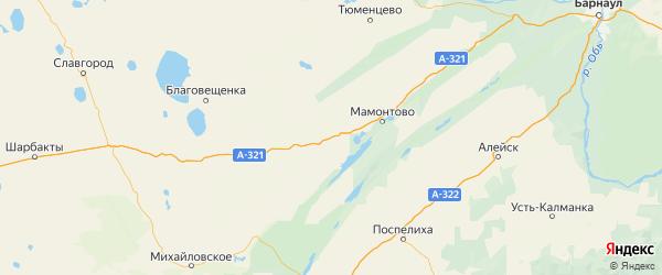 Карта Романовского района Алтайского края с городами и населенными пунктами