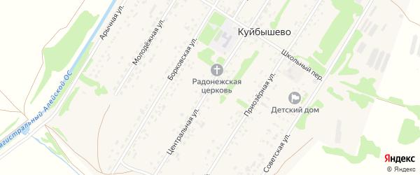 Центральная улица на карте поселка Куйбышево с номерами домов