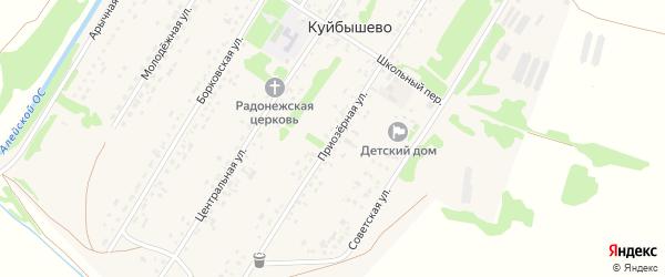 Приозерная улица на карте поселка Куйбышево с номерами домов