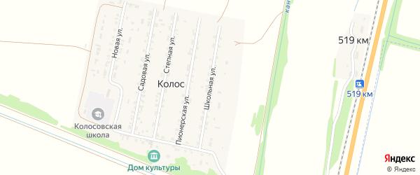 Школьная улица на карте поселка Колоса с номерами домов