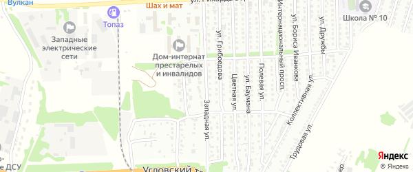 Западная улица на карте Рубцовска с номерами домов