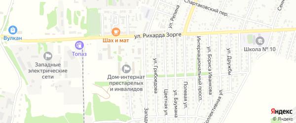 Западная улица на карте садового некоммерческого товарищества N 11 с номерами домов