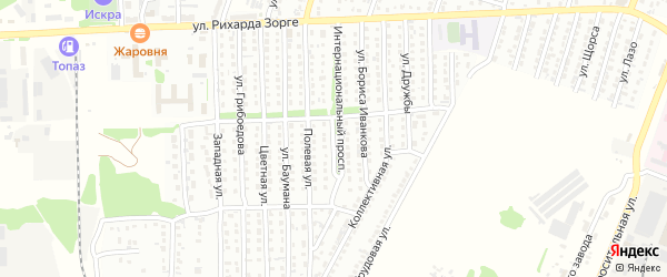 Интернациональный проспект на карте Рубцовска с номерами домов
