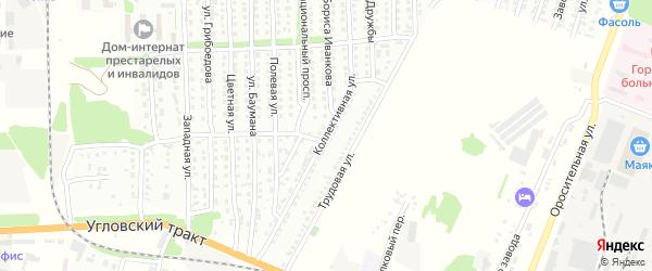 Коллективная улица на карте Рубцовска с номерами домов