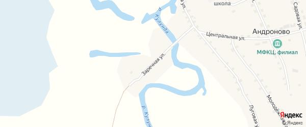 Заречная улица на карте села Андроново с номерами домов
