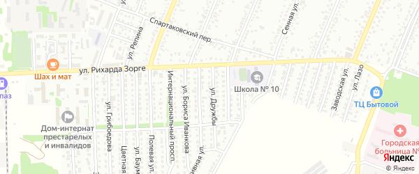 Улица Дружбы на карте садового некоммерческого товарищества N 8 с номерами домов