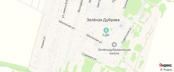 Школьная улица на карте поселка Зеленой Дубравы с номерами домов