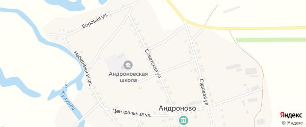 Советская улица на карте села Андроново с номерами домов