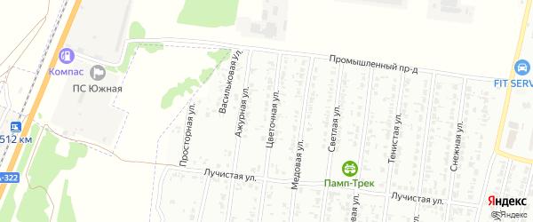 Цветочная улица на карте садового некоммерческого товарищества N 14 с номерами домов