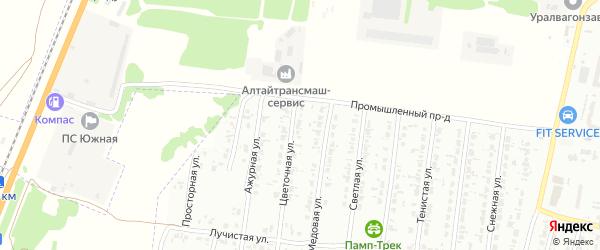 Цветочная улица на карте садового некоммерческого товарищества N 5 с номерами домов