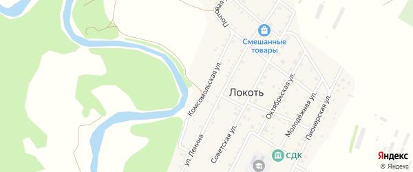 Комсомольская улица на карте села Локтя с номерами домов
