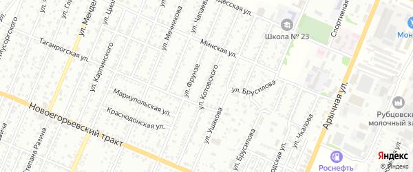 Улица Котовского на карте Рубцовска с номерами домов