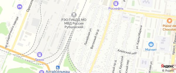 Линейная улица на карте Рубцовска с номерами домов