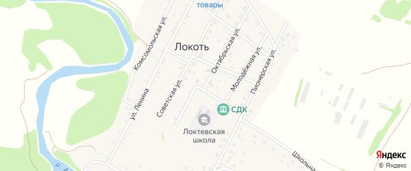 Октябрьская улица на карте села Локтя с номерами домов
