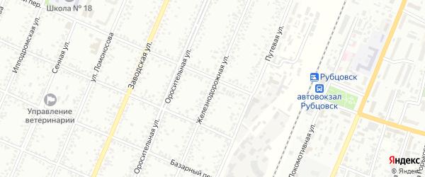 Железнодорожная улица на карте Рубцовска с номерами домов