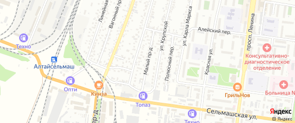 Малый проезд на карте Рубцовска с номерами домов