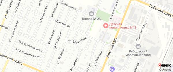 Улица Брусилова на карте Рубцовска с номерами домов