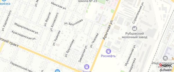 Фруктовый переулок на карте Рубцовска с номерами домов