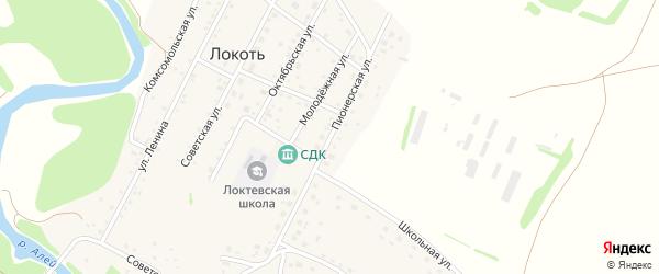 Пионерская улица на карте села Локтя с номерами домов