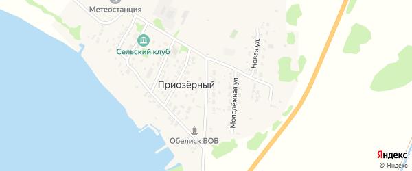 Придорожная улица на карте Приозерного поселка с номерами домов