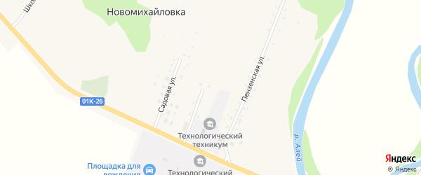 Овражный переулок на карте села Новомихайловки с номерами домов