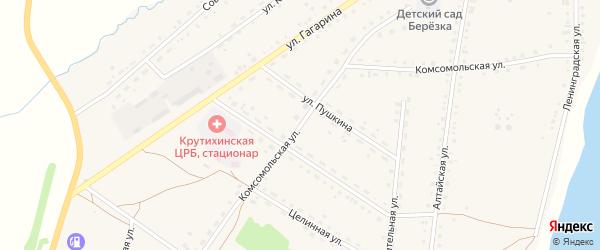 Комсомольская улица на карте села Крутихи с номерами домов