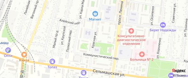 Красная улица на карте садового некоммерческого товарищества N 3 с номерами домов