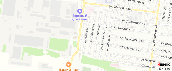 Улица Фадеева на карте Рубцовска с номерами домов