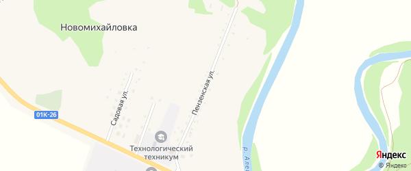 Пензенская улица на карте села Новомихайловки с номерами домов