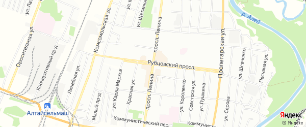 Карта садового некоммерческого товарищества N 11 города Рубцовска в Алтайском крае с улицами и номерами домов