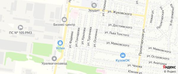 Улица Тургенева на карте Рубцовска с номерами домов