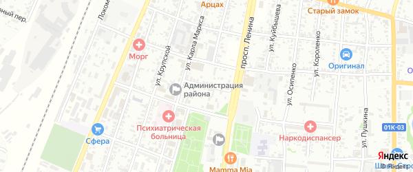 Театральный переулок на карте Рубцовска с номерами домов